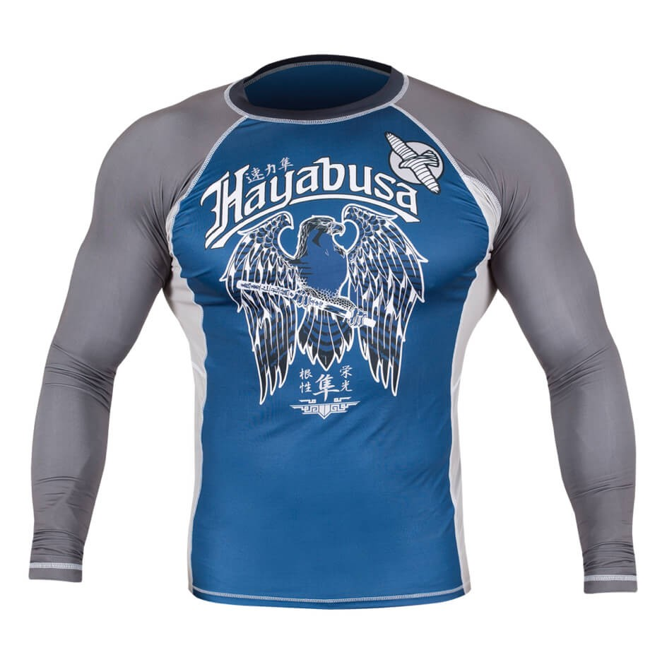 Hayabusa Showdown Rashguard Long Sleeve - Blue / Grey