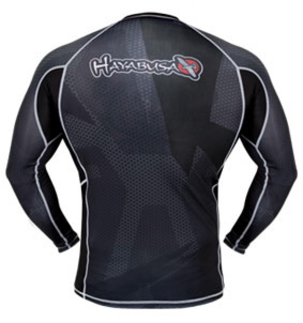 Hayabusa Metaru 47 Silver Rashguard Long Sleeve - Black