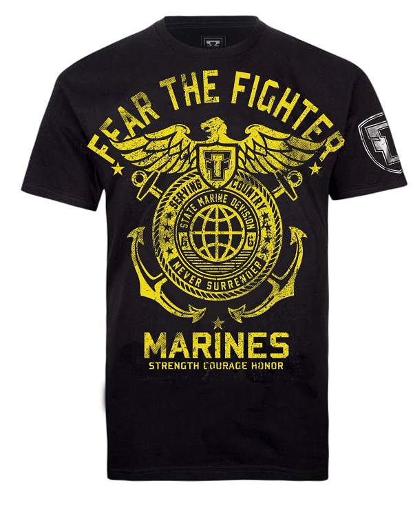 Fear the Fighter Hero Line Marines - Black