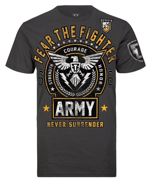 Fear the Fighter Hero Line Army - Charcoal