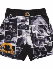 Manto Photo Pattern Mens MMA Fight Shorts - Black/White