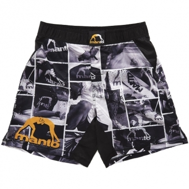 Manto Photo Pattern Mens MMA Fight Shorts - Black/White