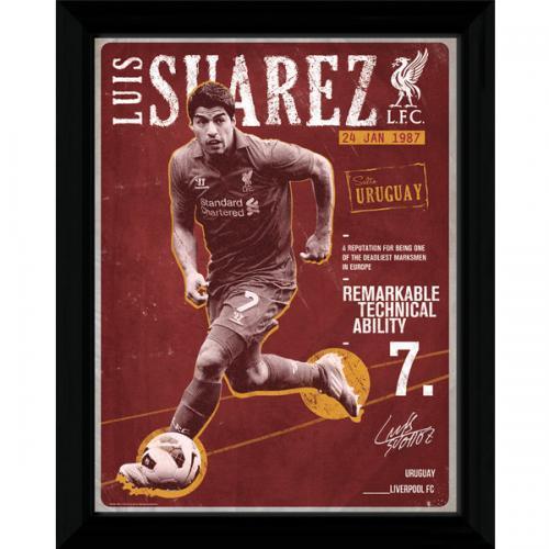 Liverpool F.C. Suarez Retro Framed Picture