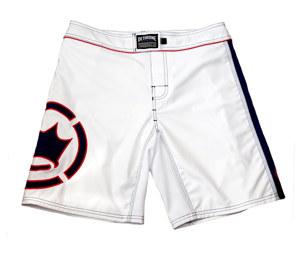 Dethrone anticrown fight shorts 2 0 white navy for Dethrone fighting irish shirt