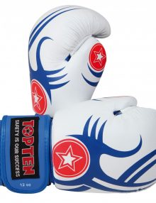 TOP TEN Tribal Boxing Glove 10 & 12oz - White & Blue