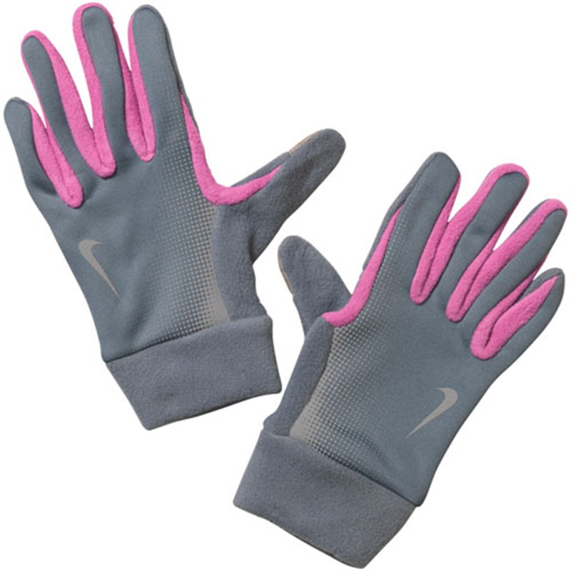 Nike Womens Tech Thermal Running Gloves - Grey/Pink