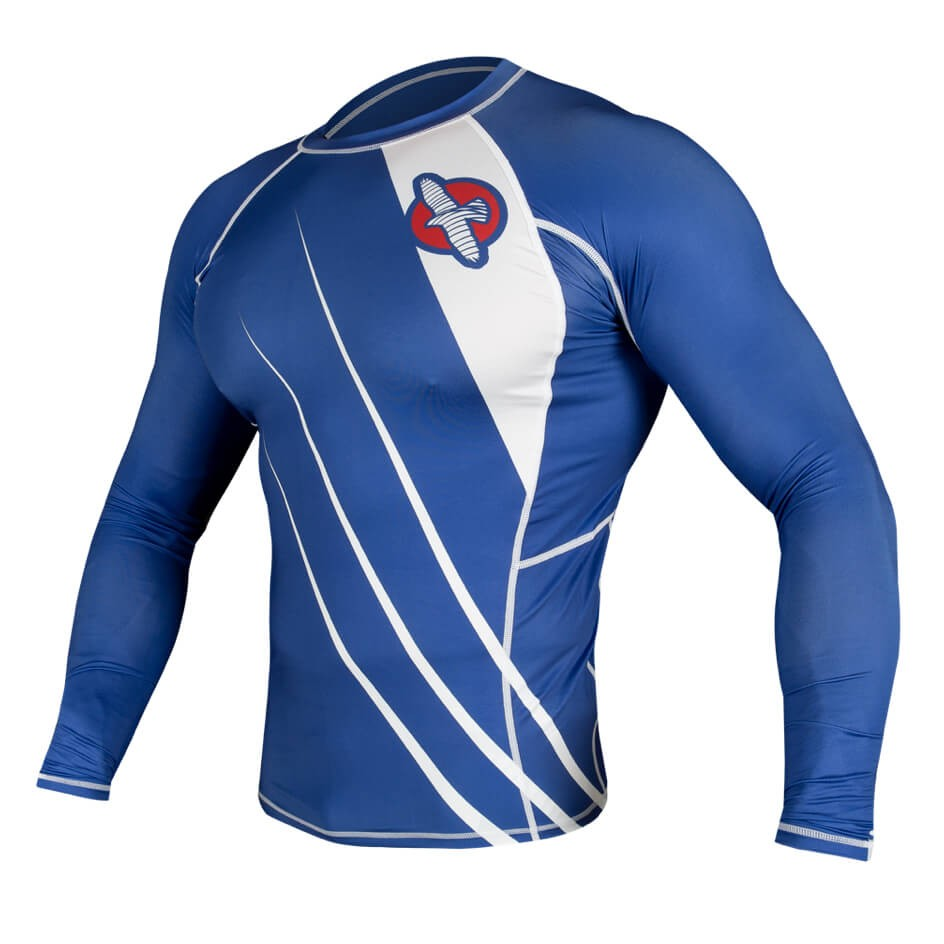 Hayabusa Recast Rashguard Long Sleeve - Blue / White