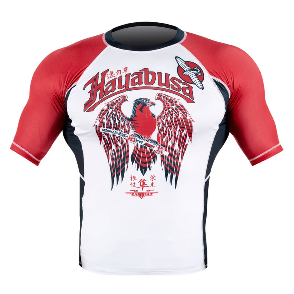Hayabusa Showdown Rashguard Short Sleeve - White / Red
