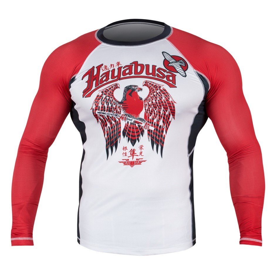 Hayabusa Showdown Rashguard Long Sleeve - White / Red
