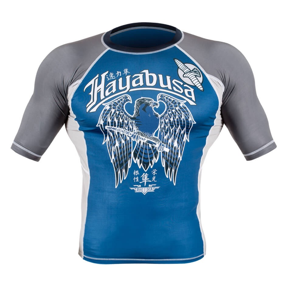 Hayabusa Showdown Rashguard Short Sleeve - Blue / Grey